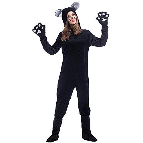 Tierkostüm schwarze Katze Jumpsuit für Damen und Herren Overall, Überstiefel und Handschuhe (Tier Katze Kostüme)