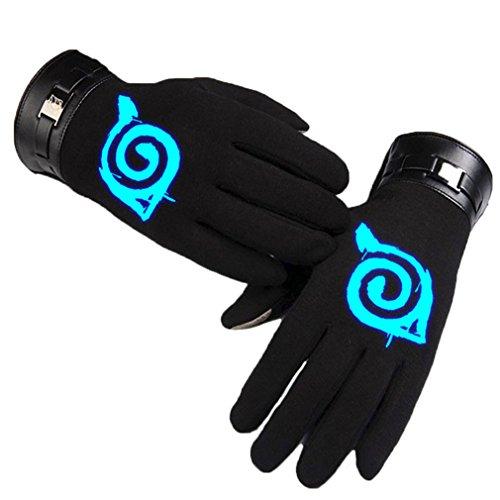 Bromeo Naruto Anime Hiver Chaud Lumineux Écran Tactile Gants Gloves Mittens Noir 1
