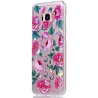 Samsung S8 Case, Edaroo Colorful Beautiful Glossy Electroplating Pink Rose Blossom Butterflies Green Leaves Pattern... preisvergleich bei billige-tabletten.eu