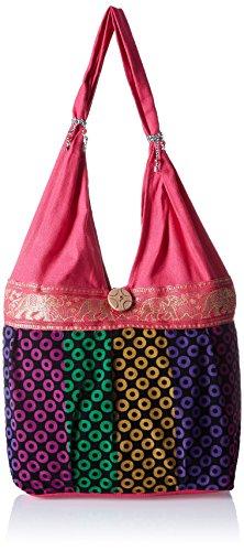 Womaniya Women's Shoulder Bag (Pink-Handicraft Jhola Bag)  available at amazon for Rs.234