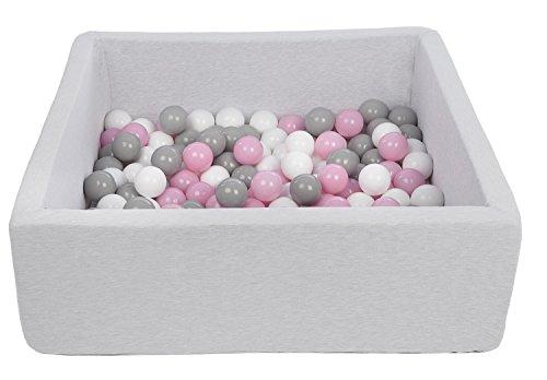 Velinda Piscine a balles pour Enfant, Dimensions: 90x90 cm, Aire de Jeu + 150 balles (Couleurs des balles: Blanc,Rose Clair,Gris)