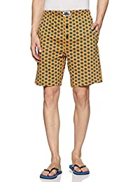 Nuteez Men's Cotton Knit Regular Fit Shorts (Hexagon)