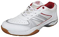 Hitmax Mens White Synthetic Badminton Shoes -7 UK