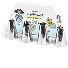 Juego de boquillas grandes de manga pastelera de acero inoxidable (formas 2D, 1M, 4B y 1A)para decorar dulces, tartas y cupcakes