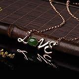 Love - Collar de plata de ley 925 con colgante de mujer con jaspe natural y...
