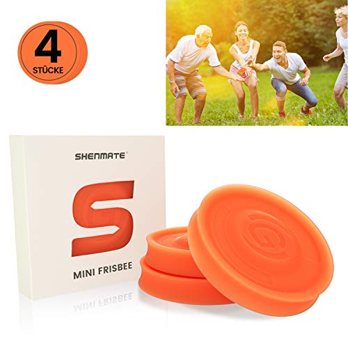 SHENMATE Mini Frisbee Fliegende Scheibe, Neue Spin on The Game of Catch, Outdoor-Sport Spielzeug, Ideal für Kinder & Erwachsene(Orange)