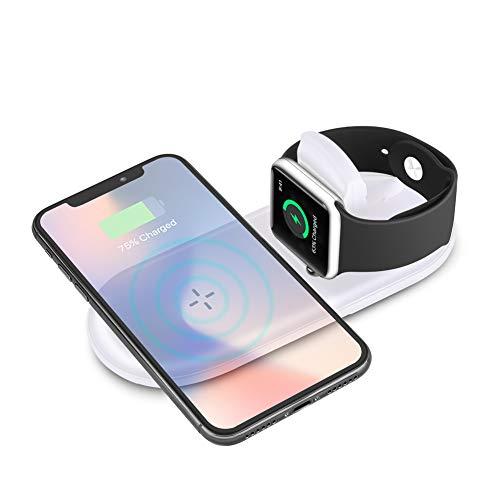 Sararoom Apple Watch Base, Qi Caricatore di ricarica wireless per iPhone X / 8/8 Plus, Apple Watch Series 2,3 Caricabatterie di ricarica pieghevole 7.5W / 10W per Samsung Galaxy S9 / 8