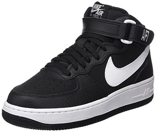 Nike Jungen Air Force 1 Mid (GS) Basketballschuhe, Mehrfarbig (Black/White), 38 EU
