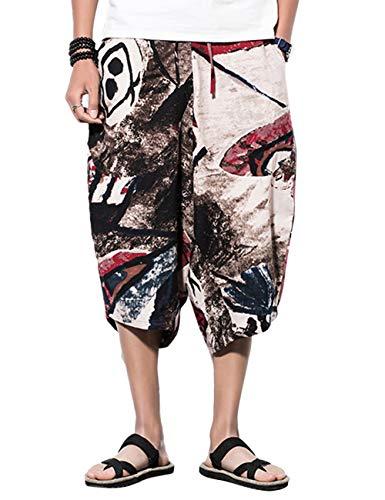 besbomig Harem Shorts Herren Männer Haremshose Drop Crotch Aladinhose Yoga Baggy Sarouel Boho Hosen Yogahose Hippie 3/4 Bermuda Shorts
