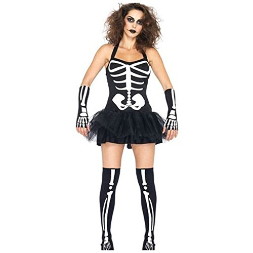 Gorgeous Halloween Horror Schädelknochen Skelett Klagekleid Spieluniformen