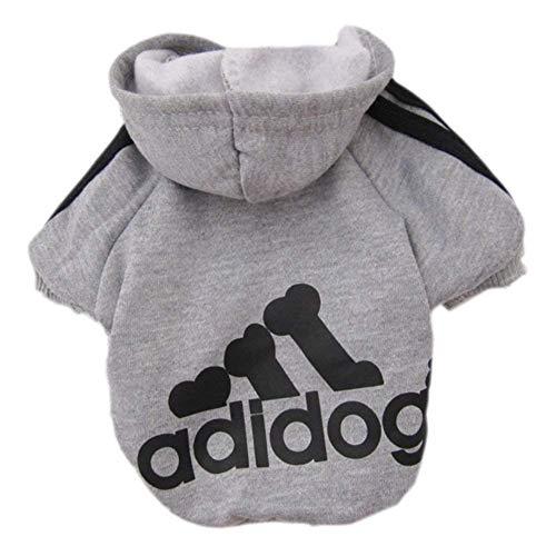Ropa de Perros Pequeños Abrigo Suéter de Caliente del Perrito del Algodón Adidog Ropa del Perrito con Capucha Ropa para Mascotas Perros Gatos (Gris, M)