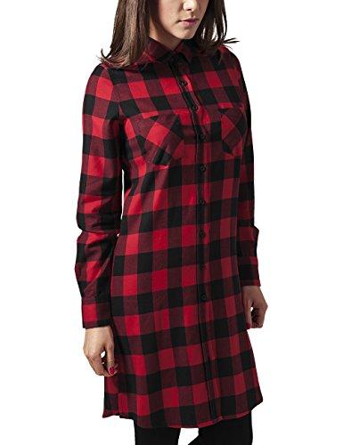 Urban Classics Damen Kleid Ladies Checked Flanell Shirt Dress, Mehrfarbig (Blk/Red 44), 38 (Herstellergröße: M) (Shirt-kleid Checked)