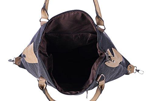 DonDon Canvas Tasche grau mit Stern Shopper Henkeltasche mit Schultergurt und Reißverschluss im Vintage Look 49 x 47 x 17 cm Schwarz-Beige