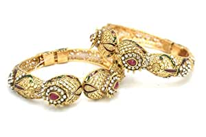 Fine Gold Plated Antique set of 2 Kundan Bangles in Victorian Design