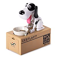 Cestlafit Cute Puppy Hungry Eating Dog Coin Bank, Doggy Coin Bank, Dog Piggy Bank, Coin Munching Toy Money Box