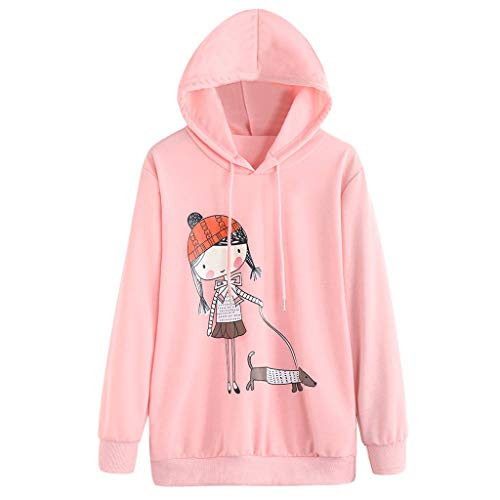Tianwlio Damen Lässige Langarmshirt Hoodie Pullover Weihnachten Mode Drucken Langarm Kapuzenshirt Kapuzenpullover Tops Bluse Rosa L