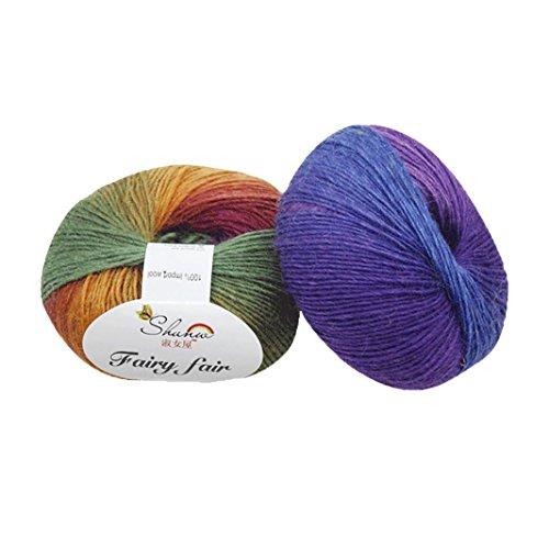 sunnymi Super Soft Ball Woolen Roving Häkeln/Regenbogen Wollgarn Geschenk/DIY Wolle Garn Strick Wolle/Pullover Hüte Schals Decke/ 50g Wolle Mischung Garn (e, 50g)