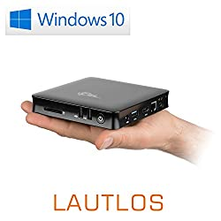 Mini PC - lautlose CSL Narrow Box 4K 4GB / Win 10 Pro schwarz - Silent-PC mit Intel QuadCore CPU 1920MHz, 32GB SSD, 4GB DDR3-RAM, Intel HD, WLAN, USB 3.1, HDMI, SD, Bluetooth, Windows 10 Pro