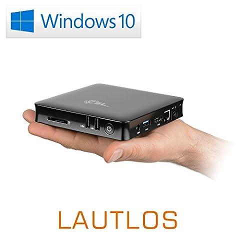 Mini PC - lautlose CSL Narrow Box 4K 4GB / Win 10 Pro schwarz - Silent-PC mit Intel QuadCore CPU 1920MHz, 32GB SSD, 4GB DDR3-RAM, Intel HD, WLAN, USB 3.1, HDMI, SD, Bluetooth, Windows 10 Pro