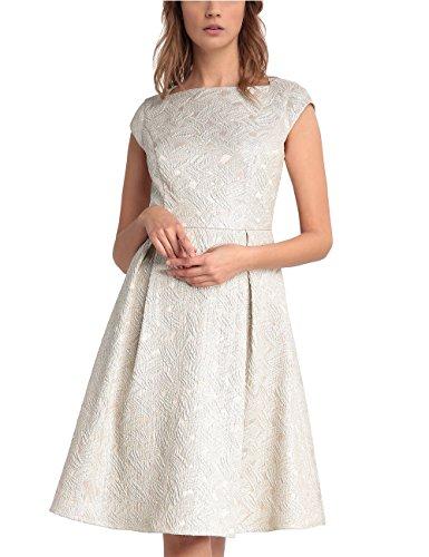APART Fashion Damen Kleid 25732, Beige (Nude-Gold), 40 (Kleid Kellerfalte)