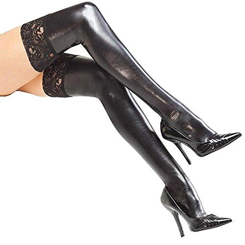 El-amor-de-las-mujeres-atractivas-Negro-Lycra-mirada-mojada-hasta-el-muslo-medias-con-encaje-estilo-1