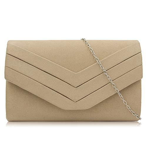 HKANG® Damen Klassische Envelope Clutch Elegante Clutch Bag Tasche Abendtasche,Apricot - Clutch Bag Apricot