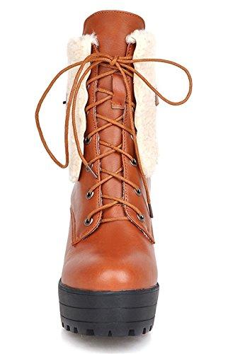 YE Plateau High Heel Blockabsatz Schnürstiefeletten mit Fell Elegant Fashion 9cm Absatz Warm Gefütterte Herbst Winter Damenstiefel Gelb ofyXLl0yG