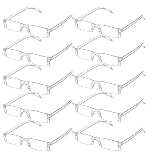 Keepmoving Ohne Rahmen Sehhilfe Sehstärk Lesehilfe Sehhilfe Randlos Lesebrillen Brille 10 Stück Set (+2,50)