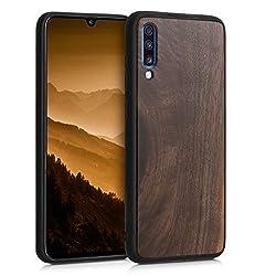 kwmobile Holz Schutzhülle für Samsung Galaxy A70 - Hardcase Hülle mit TPU Bumper Walnussholz in Dunkelbraun - Handy Case Cover