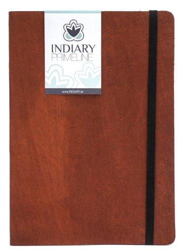 INDIARY PRIMELINE Luxusnotizbuch aus echtem Leder und handgeschöpftem Papier DIN A5 - Braun