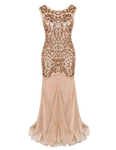 PrettyGuide Damen 1920s Schwarz Pailletten Gatsby Bodenlangen Abendkleid L Rosé gold