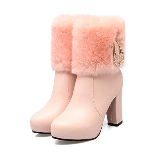 Ye 10cm Wasserdichte Schneestiefel Spitze High Winter Heels Blockabsatz Mit Damen Absatz Gefütterte Fell Stiefeletten Warm Rosa A8qOrA