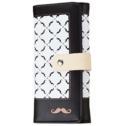 Malloom Titolare Donna borsa portafoglio Lungo Frizione Borsa PU Borse (nero) (rosa caldo) Nero
