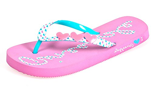 Girls Ladies Flip Flops Designer Sandals Summer Beach Shoes (Pink, UK3)