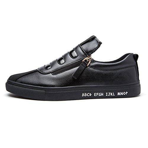STIAILE Homme Mode Cuir Noir Blanc Slip on Sneakers basses Chaussures de Running Entrainement Mocassins Loafers Noir