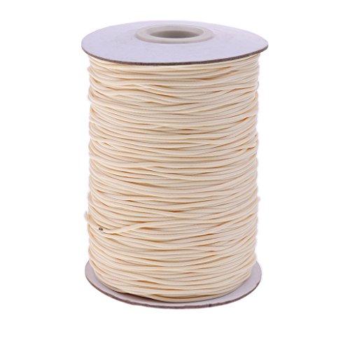 wachste Baumwollschnur Wachsband Wachs Band Zur Schmuckherstellung Halsband Halskette - Beige, 165 Meter 1mm (Seil-armband-herstellung)