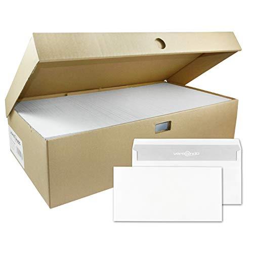 versando 1000 Briefumschläge Din Lang, 22 x 11 cm Weiß, Ohne Fenster Selbstklebend, Umschläge, SK