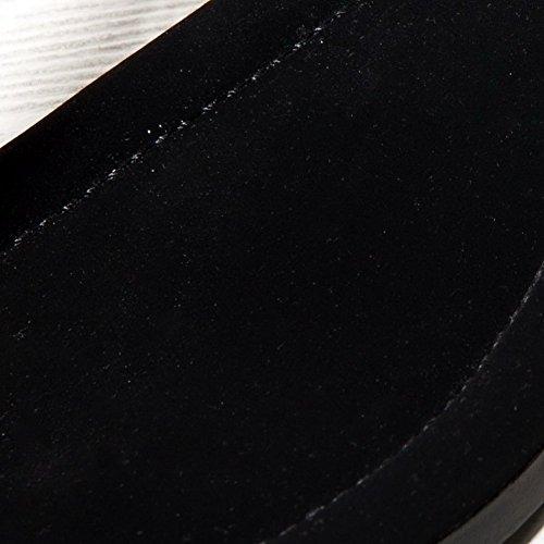 Adee Mesdames metalornament Zip Sandales en peau de mouton Noir