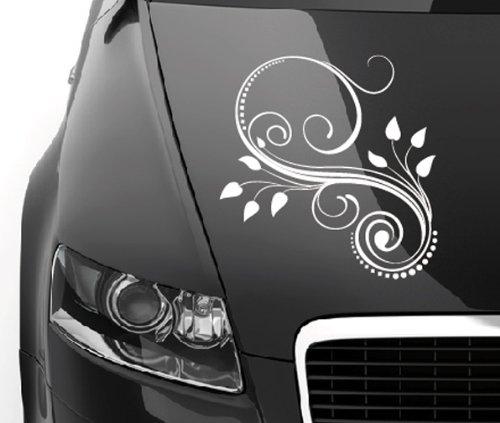 Motivo 0511-ca. 33x 40cm-fiori viticci-adesivo per cofano motore lunotto posteriore lato o parabrezza-Auto decorazione Auto adesivo Auto Car viticcio pianta Ornament