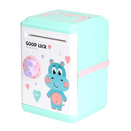 Zerodis Kinder elektronische Sparkasse Cartoon Passwort Bargeld Münze automatische Rollen Geld Sparschwein Maschine Spielzeug (Blaues Flusspferd)