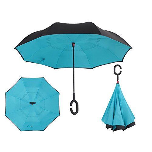 Ombrello inverso reversibile apertura automatico antivento, aesy c forma impugnatura dritta rod doppio strato invertito ombrello per auto per all'aperto (lago blu)