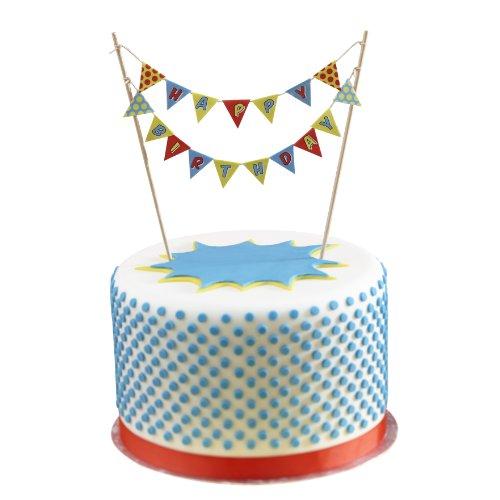 Ginger Ray Happy Birthday Cake topper pavese - Pop Art Superhero partito