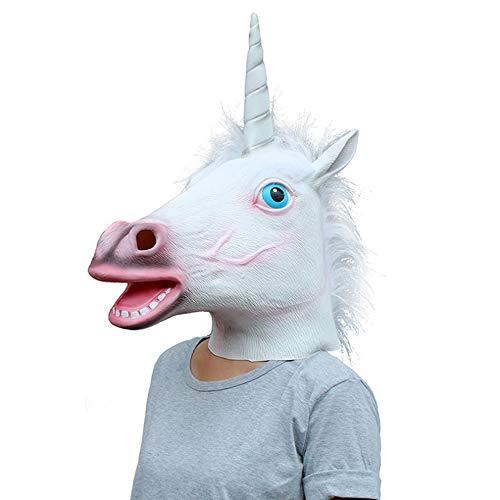 (Halloween Kostüm Kugel Latex Tierkopf Maske (Einhorn))