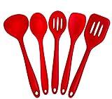 joyoldelf 5 Piezas Silicona Cocina Hornear Set - espátulas, cucharas y Turner - Resistente al Calor Utensilios de Cocina