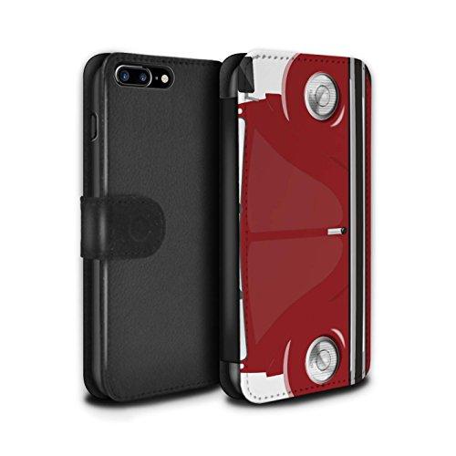 Stuff4 Coque/Etui/Housse Cuir PU Case/Cover pour Apple iPhone 8 Plus / Rayures Course Design / Rétro Coccinelle Collection Rouge d'Afrique