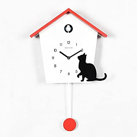 Geekcook Wall Clock, Multi-coloured Pendulum Black Cat Cuckoo Clock 46.5 X 28.5 X 8 Cm ( Color : Red