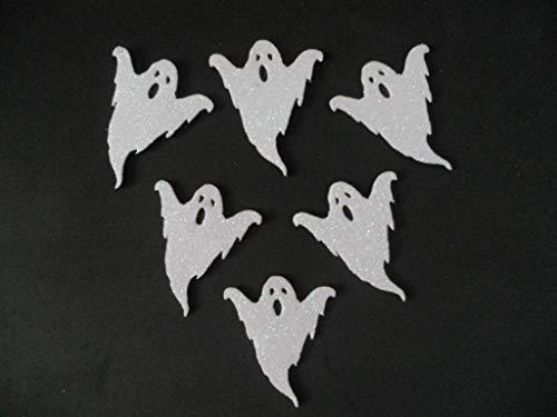 6 Fantasmas para decorar en halloween de goma eva brillante. 7,5 x 6,1cm Silvys