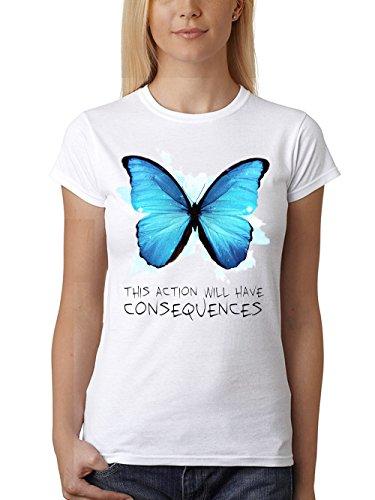 clothinx Damen T-Shirt Fit Strange Butterfly Weiß Gr. M -