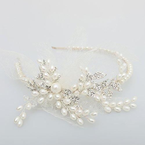 Vintage Elfenbein Tüll Bridal Tiara Strass Perlen Haarreif Hochzeit Prom Haarschmuck - 6