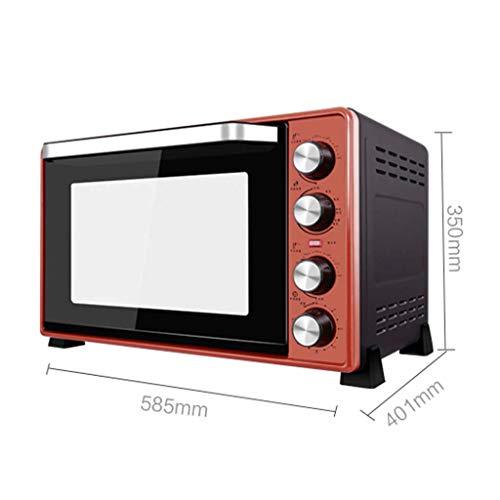 GBX Haushalt Multifunktionsofen-Mini 45L Elektroofen mit Präzisions-Temperaturregelung 60-250 ° C und 0-120 Min. Zeiteinstellung 2000W Doppelschicht-Multifunktions-Heißluftofen mit Beleuchtung Rot -